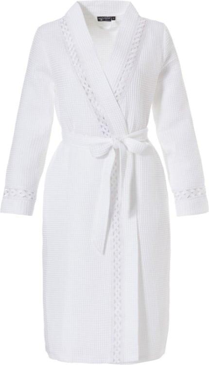 vooraanzicht van witte wafelstof badjas voor dames