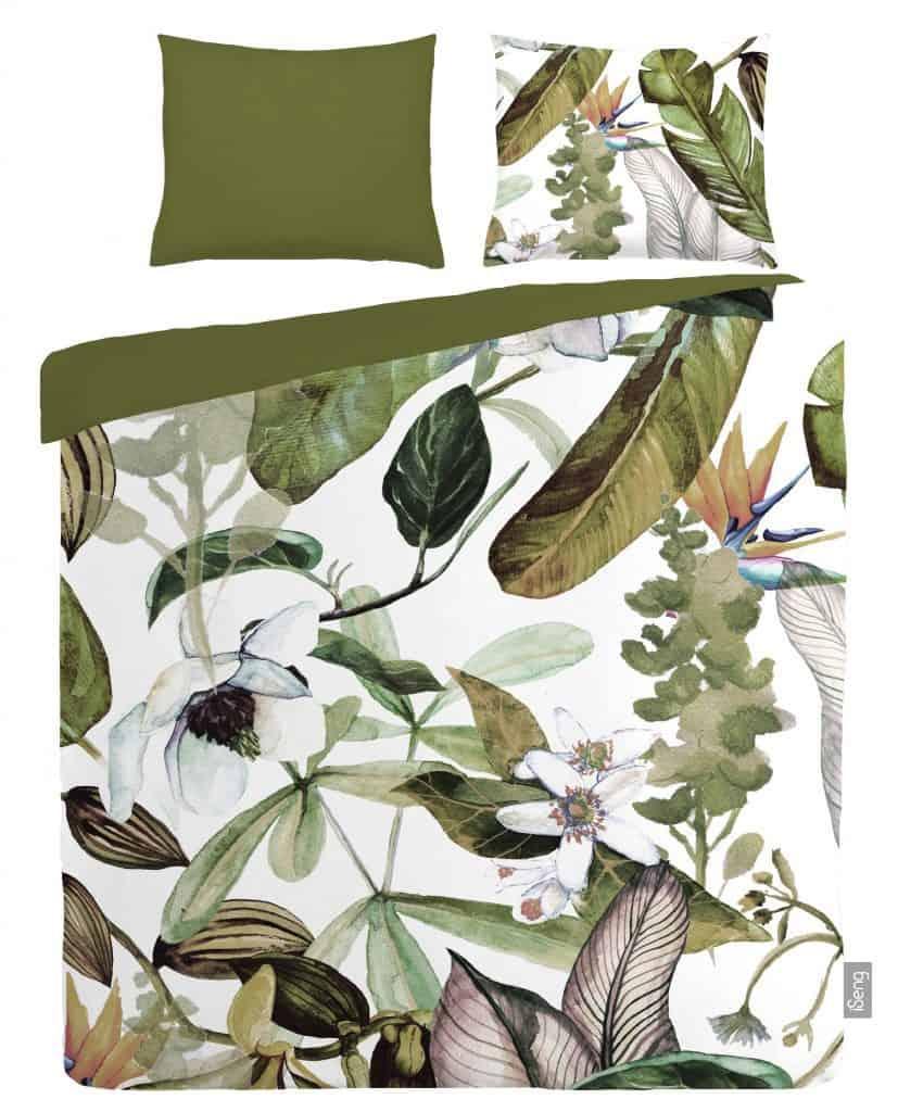 dekbedovertrek met planten motief in natuur stijl