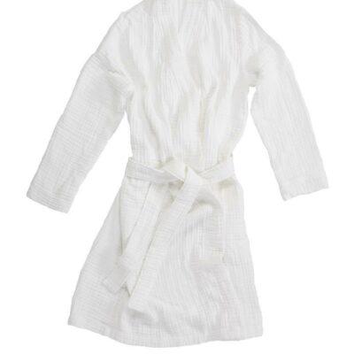 dunne ochtendjas van katoen in de kleur wit