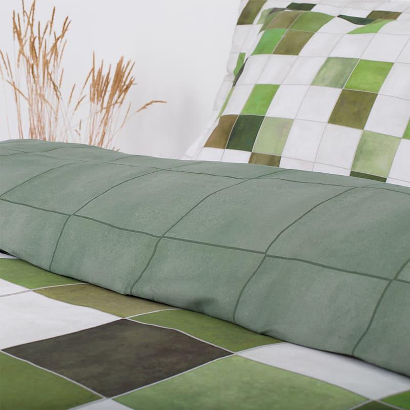 groen dekbed met blokken