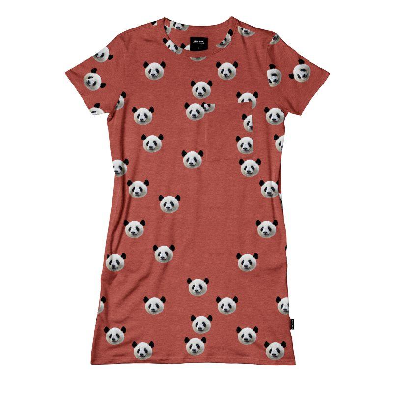 t-shirt dress in rood met panda hoofden
