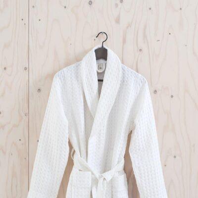 badjas in wafelstructuur kleur wit