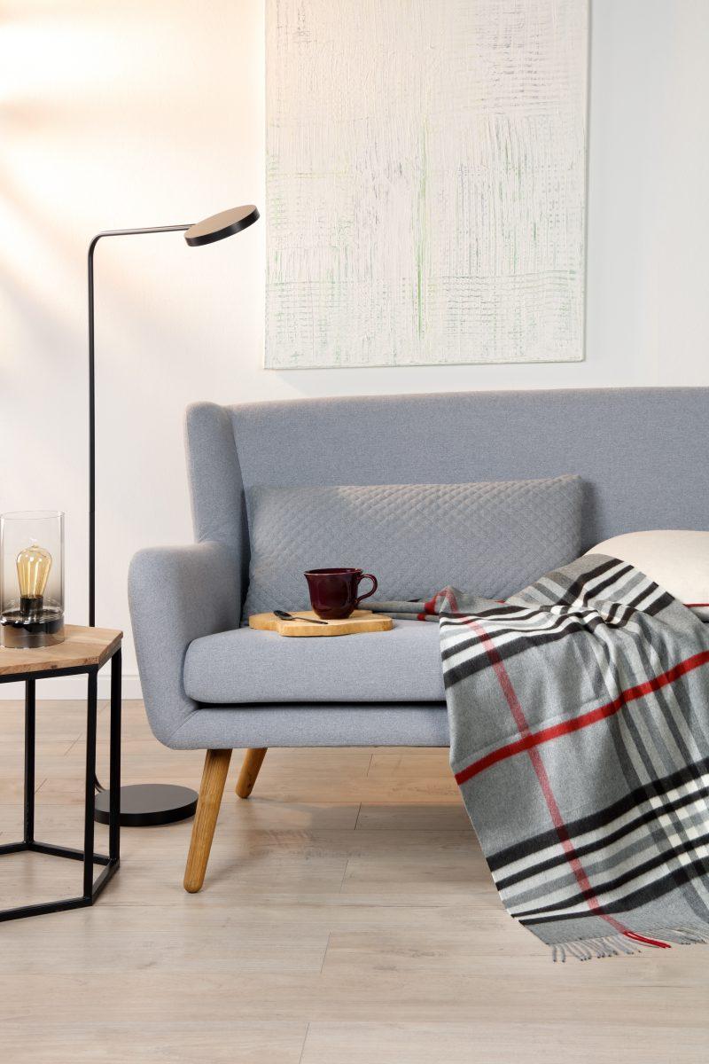 plaid voor op de bank klassiek grijze deken