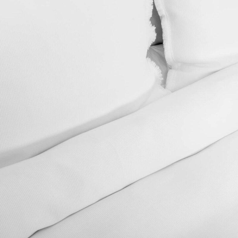wit dekbedovertrek in wafelstructuur stof