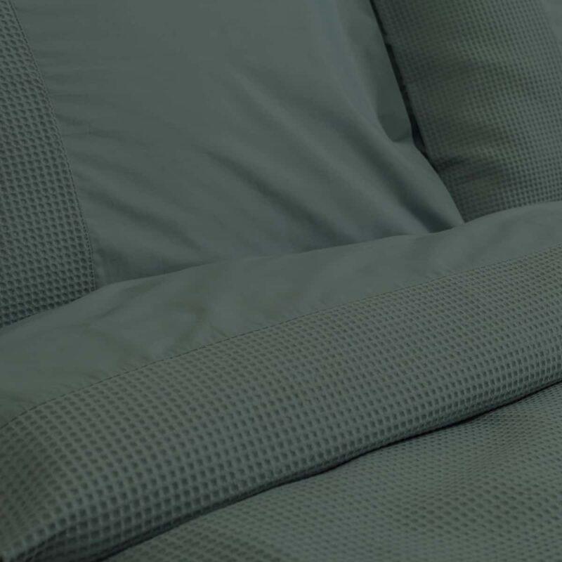 ingezoomd dekbedovertrek wafelstructuur donkergroen