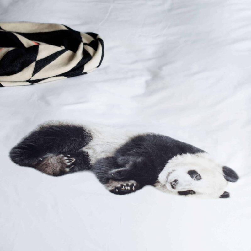 stof van een dekbedovertrek met een panda beer