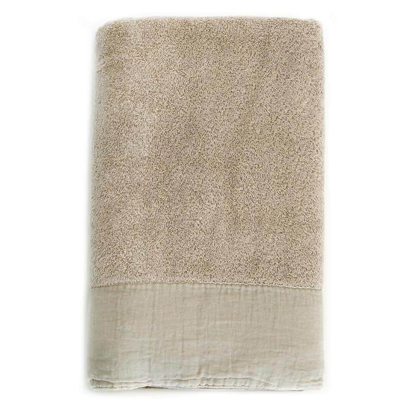 taupe gekleurde baddoek van zware kwaliteit