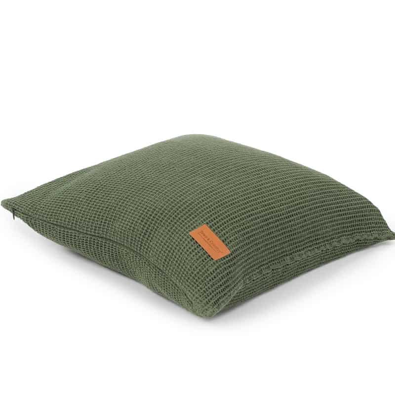groen kussentje met wafelkatoenen stof