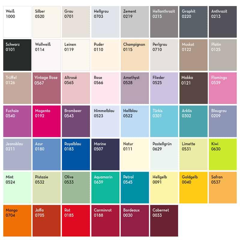 kleurenpalet met nummers en kleurnamen bella donna hoeslaken