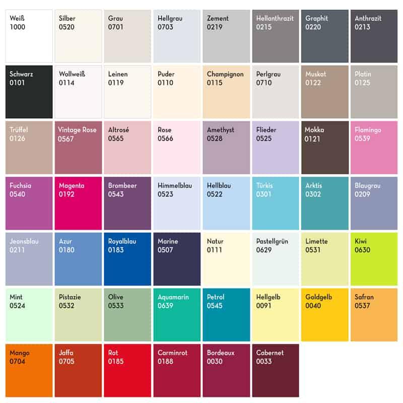 kleurenpalet met nummers en kleurnamen bella gracia