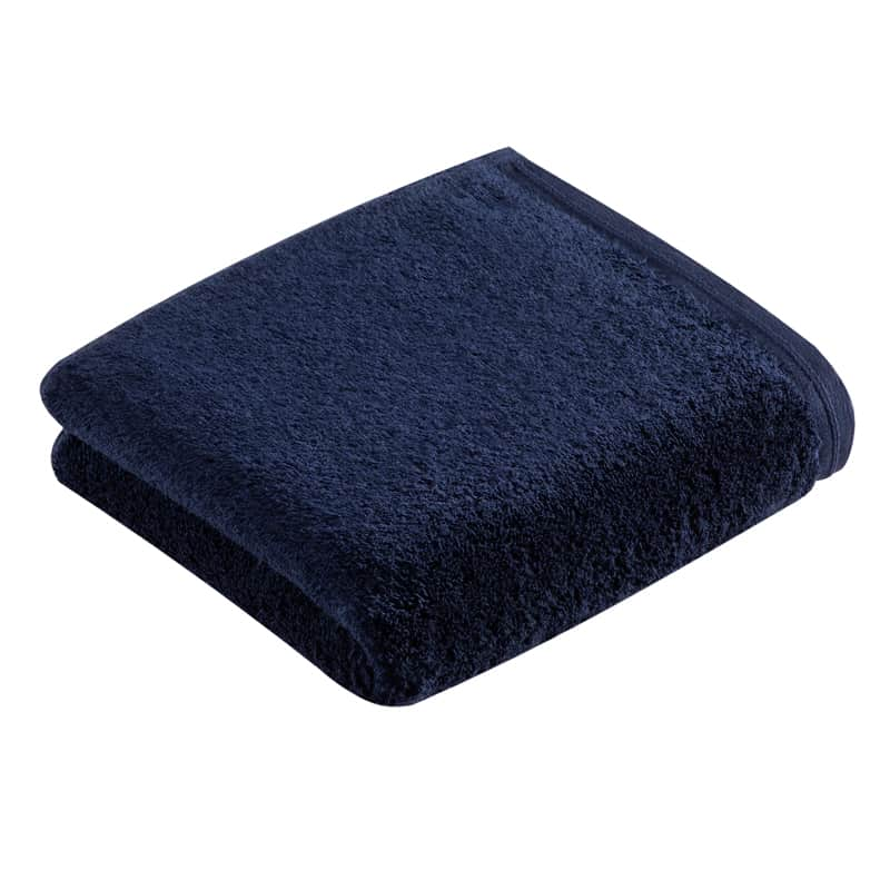 één marine blauwe handdoek vanuit zijaanzicht- luxe handdoeken