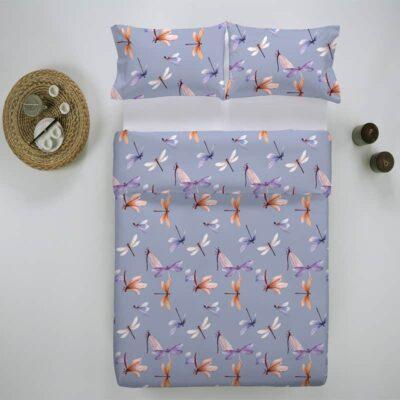 lila dekbedovertrek met libellen