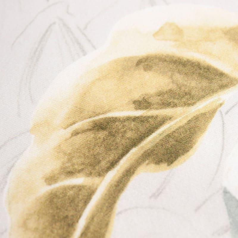 staaltje van geel/ zilver bloemen satijnen dekbedovertrek