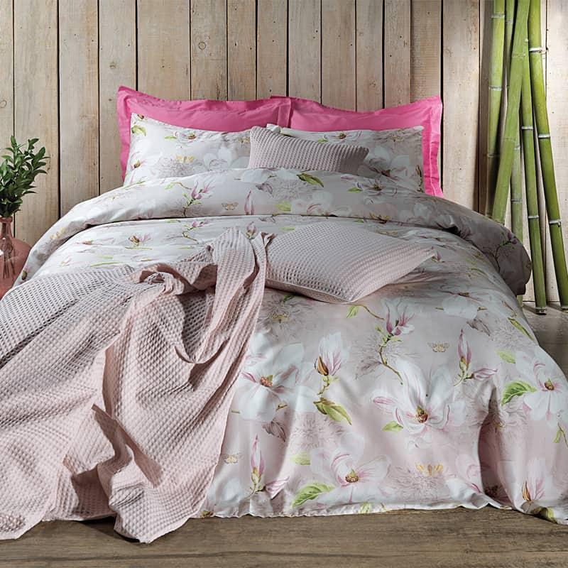 roze sprei met bloemen dekbedovertrek katoen satijn