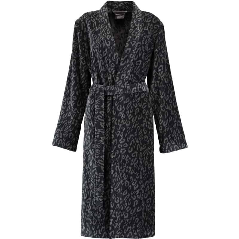 badjas dierenprint dames van badstof in zwart met grijze leopard vlekjes