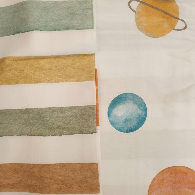 gekleurde strepen en planeten