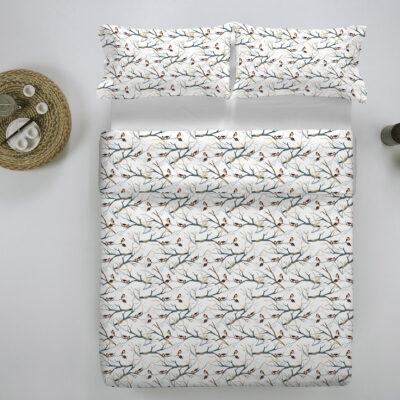 wit dekbedovertrek met vogels in flanel stof